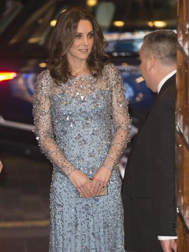 LONDON, UNITED KINGDOM - NOVEMBER 24: Catherine, Duchess of Cambridge attends the Royal Variety Performance at the Palladium Theatre on November November 24, 2017 in London, England. The Royal Variety Performance takes place every year, either in London or in a theatre around the United Kingdom. The event is in aid of the Royal Variety Charity, formally, The Entertainment Artistes Benevolent Fund, of which The Queen is Patron. The money raised from the show helps hundreds of entertainers throughout the UK, who need help and assistance as a result of old age, ill-health, or hard times. (Photo by of Eddie Mulholland - WPA Pool/Getty Images)