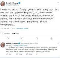 Screenshot kicauan Twitter yang diposting akun Donald Trump
