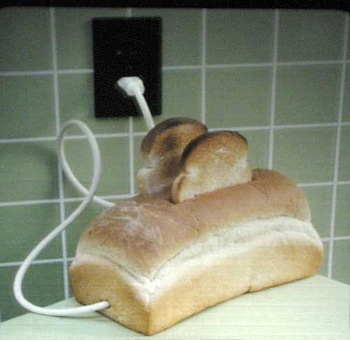 Roti bentuk pemanggang roti ini terlihat unik dan menarik. Apalagi ditambah dengan roti panggang yang keluar di atasnya. Foto: Istimewa