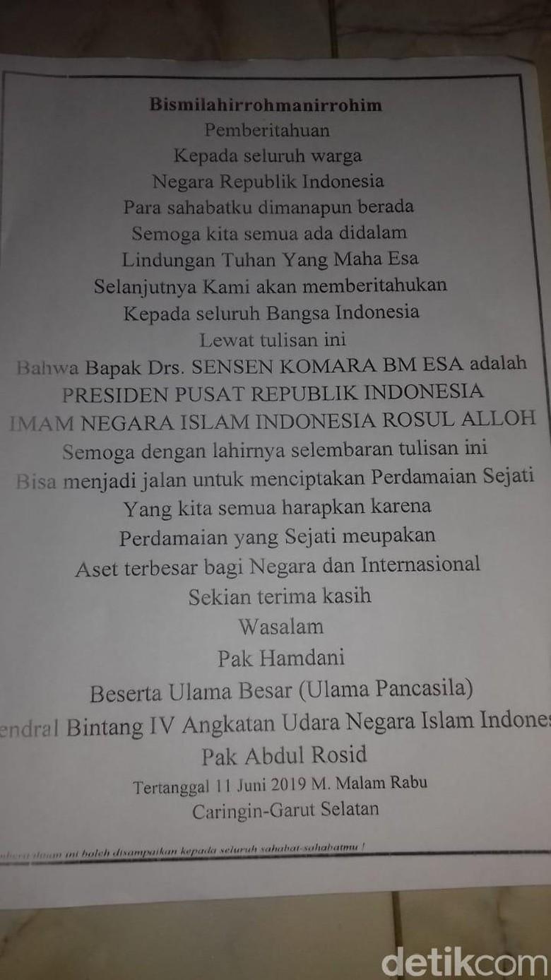 Polres Garut Tangkap Pembuat Surat Sensen Presiden Indonesia