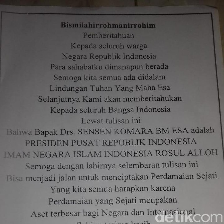 Pembuat Surat Sensen Presiden Indonesia Jadi Tersangka Makar