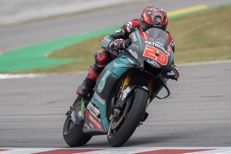 MONTMELO, SPAIN - JUNE 14: Fabio Quartararo of France and Petronas Yamaha SRT  heads down a straight during the MotoGp of Catalunya - Free Practice at Circuit de Catalunya on June 14, 2019 in Montmelo, Spain. (Photo by Mirco Lazzari gp/Getty Images)