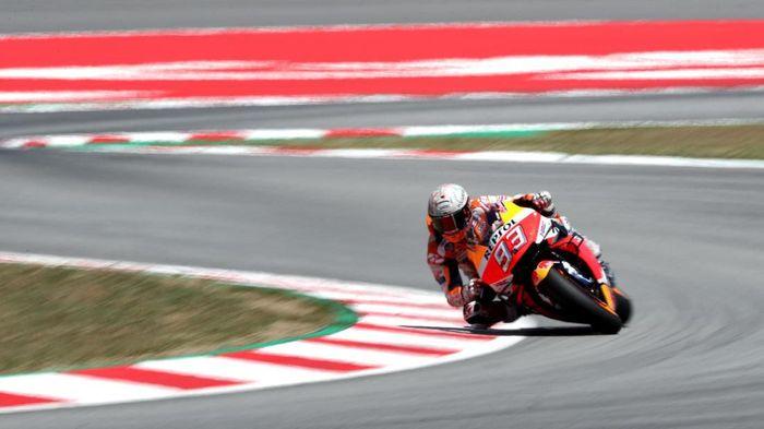 Marc  Marquez finis pertama di sesi latihan bebas kedua MotoGP Jerman (Albert Gea/Reuters)
