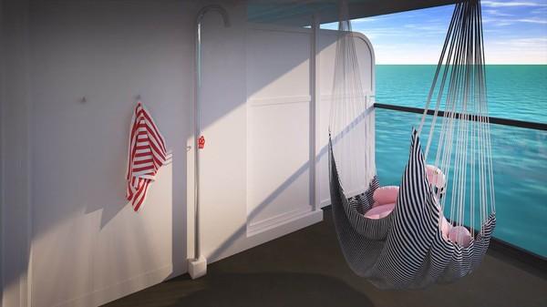 Ini Gorgeous Suite Terrace. Semua suite Mega RockStar akan dilengkapi dengan kamar mandi terbuka (Virgin Voyages/CNN)