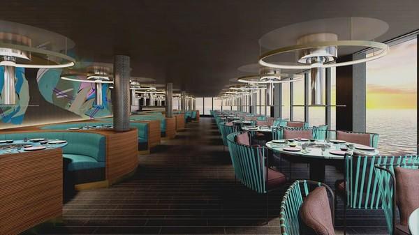 Kapal ini memiliki lebih dari 20 restoran dan ruang tato juga salon tindik yang dijuluki Squid Ink (Virgin Voyages/CNN)