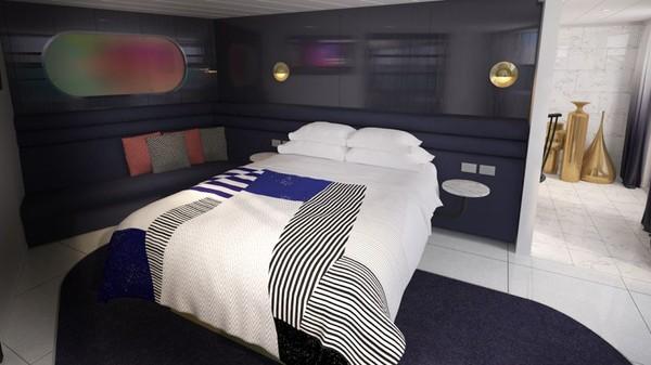 Ini rendering dari kamar Massive Suite. Virgin Voyages menargetkan untuk dapat menggaet pelancong yang tidak suka berlayar (Virgin Voyages/CNN)
