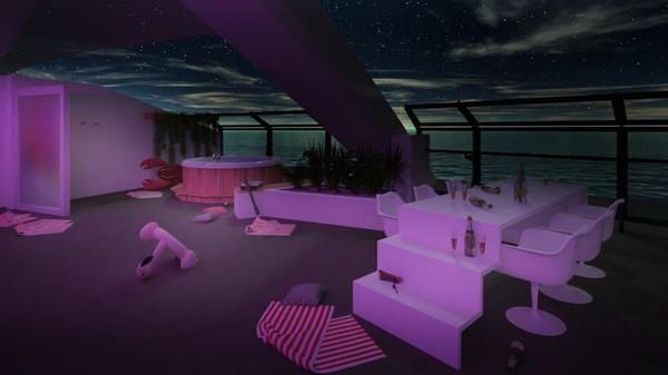 Massive Suite memiliki teras pribadi di bagian depan kapal, lengkap dengan hot tub dan meja berundak untuk para penghibur (Virgin Voyages/CNN)
