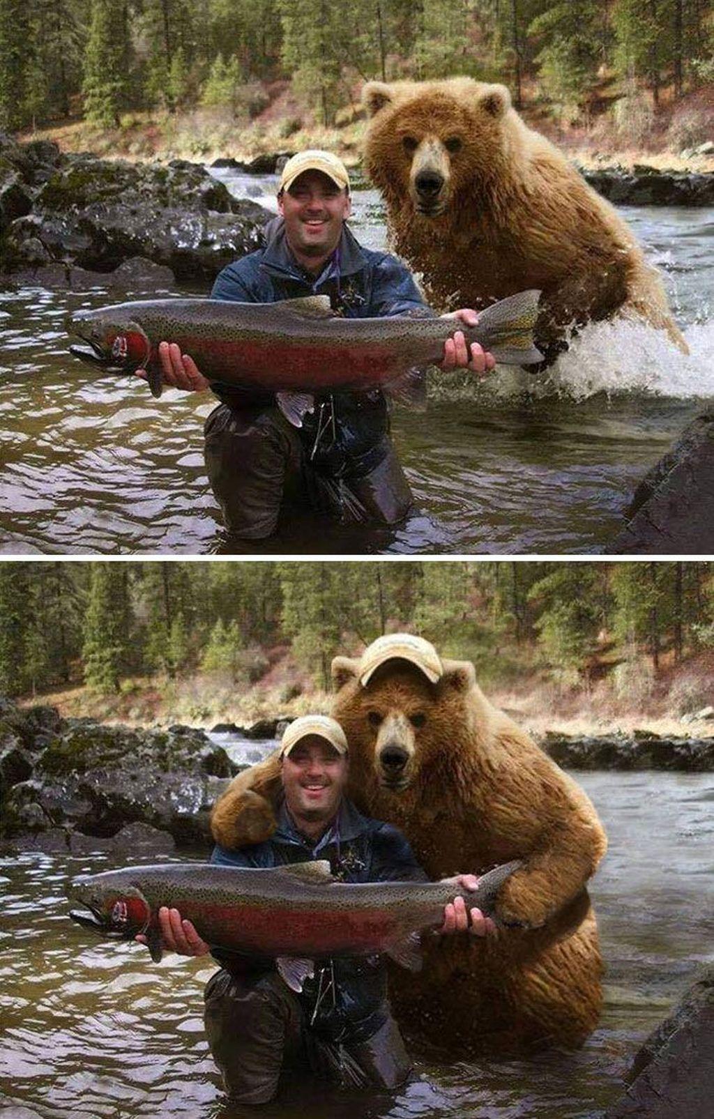Pose hasil buruan bersama beruang.(Foto: Boredpanda)