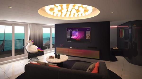 Akan ada 78 kamar mewah atau RockStar Suites yang berlokasi di geladak ke-15. Foto ini adalah rendering ruang tamu Posh Suite (Virgin Voyages/CNN)