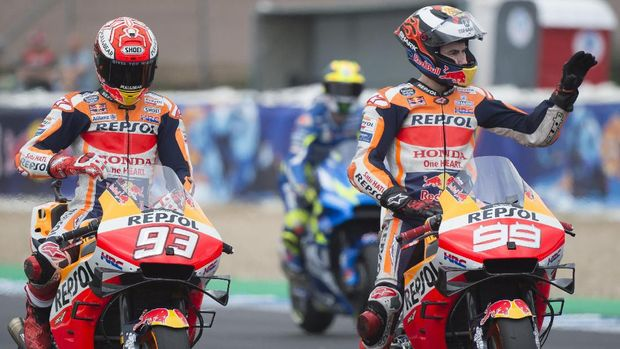 Marc Marquez dan Jorge Lorenzo sempat terlibat cekcok usai FP2 MotoGP Australia 2019.