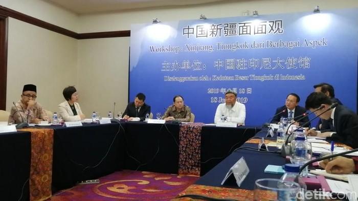 Perwakilan China saat berkunjung ke Jakarta dan bicara soal muslim di Xinjiang (Foto: Zakia Liland/detikcom)