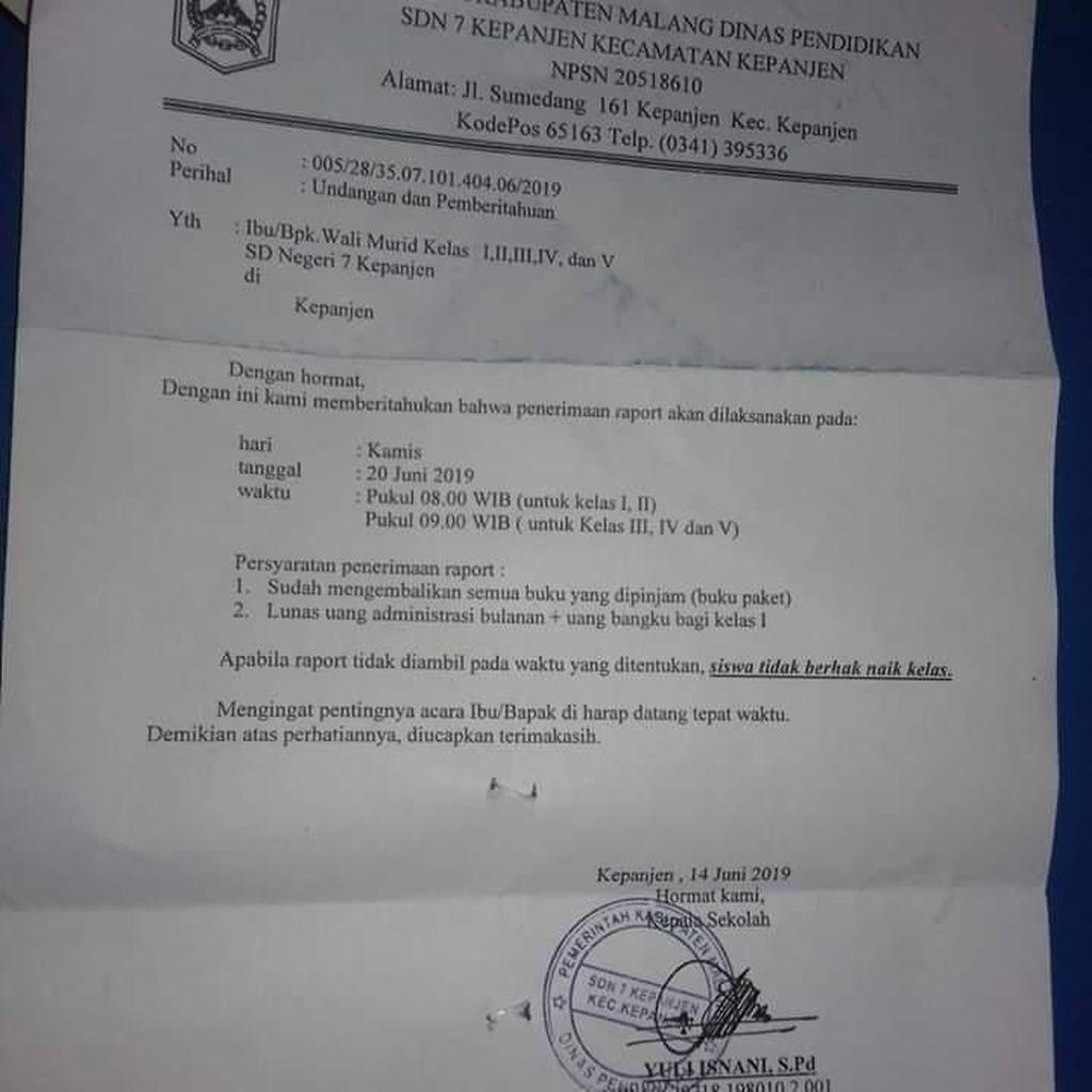 Heboh di Malang, Siswa Diancam Tak Naik Kelas Jika Ortu Tak Ambil Rapor