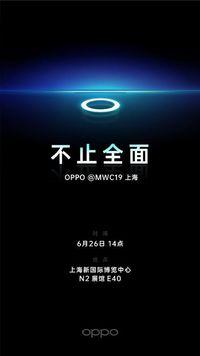Poster promosi ponsel kamera depan di bawah layar buatan Oppo.