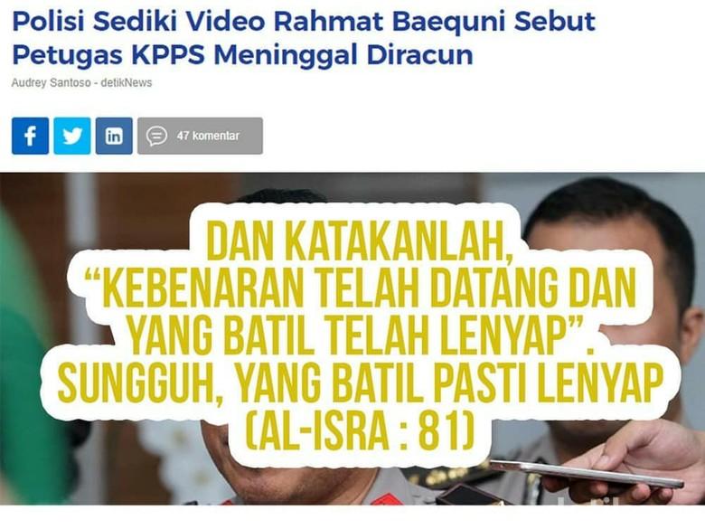 Polisi Selidiki Isi Ceramahnya, Rahmat Baequni Posting Tentang Kebenaran di IG