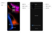 Render prediksi dari wujud Sony Xperia dengan enam kamera belakang.