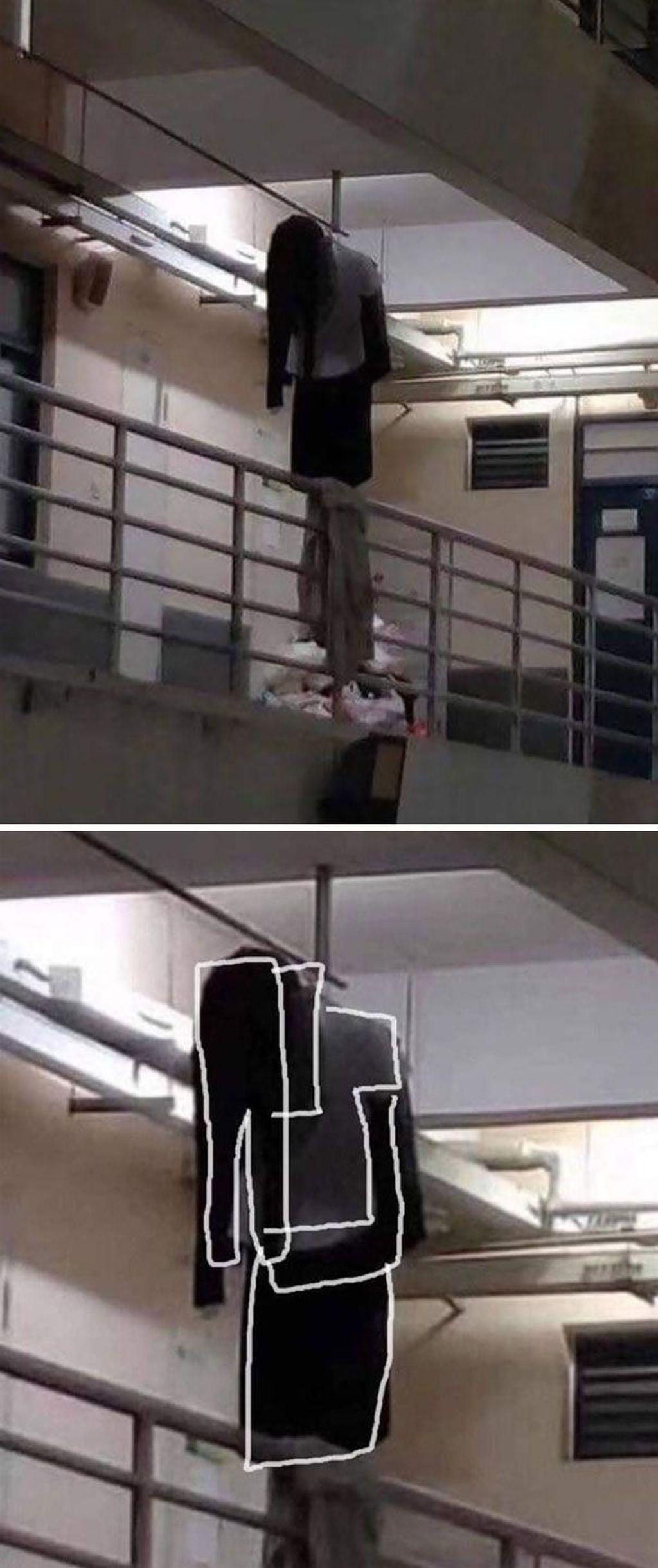Gambar ini viral di internet, dikira ada yang bunuh diri ternyata hanya sebuah gantungan baju dan celana yang menyerupai tubuh manusia. (Foto: Boredpanda)