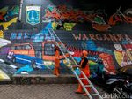 Mural Bahagia Warganya Sambut HUT Jakarta ke-492