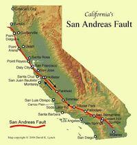 Peta bentangan patahan San Andreas.