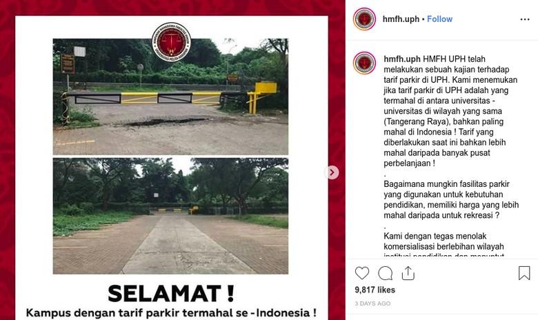 Tarif parkir mahal di Universitas Pelita Harapan. Foto: Screenshot Instagram Himpunan Mahasiswa Fakultas Hukum Univesitas Pelita Harapan