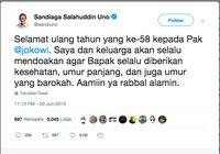 Penuh Doa, Sandiaga Uno Ucapkan Selamat Ultah ke Jokowi