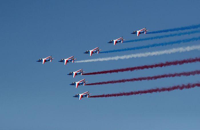International Paris Air Show kembali digelar. Sejumlah pesawat komersil hingga pesawat tempur unjuk kebolehan di pameran yang digelar di Le Bourget, Paris Prancis, sejak Senin (17/6/2019) lalu. Pascal Rossignol/Reuters.