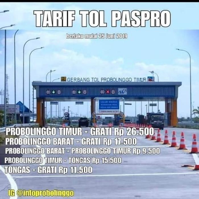 Tarif Tol Paspro/Foto: Istimewa