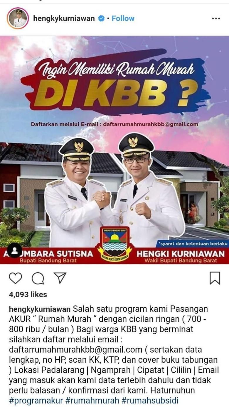 Program Rumah Murah KBB, Hengky Kurniawan: DP Hanya Rp 6 Juta