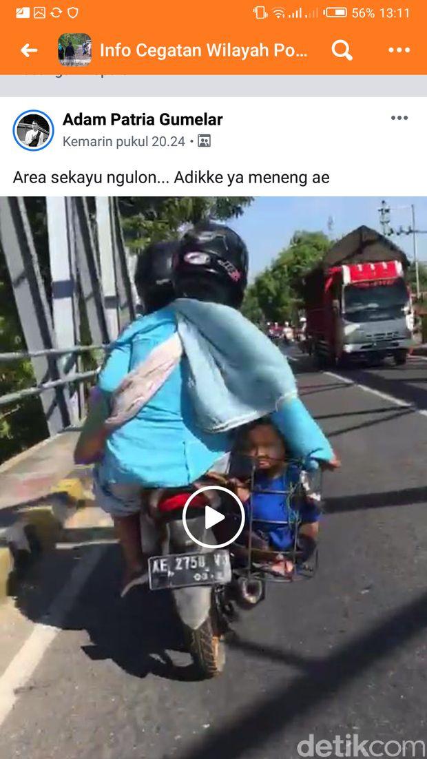 Video viral orangtua bonceng anaknya/