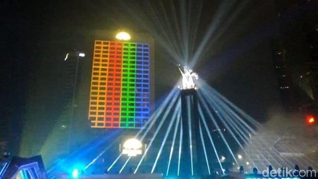 Panggung puncak perayaan HUT DKI Jakarta di Bundaran HI