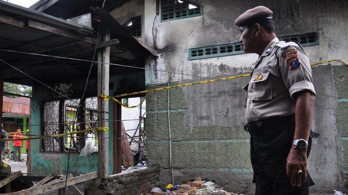 Lokasi pabrik korek gas terbakar di Langkat-Sumatera Utara/Foto: Antara Foto