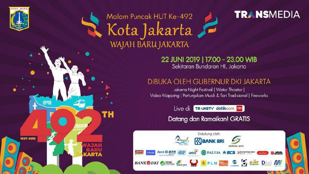 Saksikan Live Streaming Kemeriahan HUT Kota Jakarta di Sini!