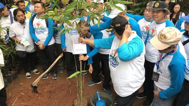 Menteri LHK Siti Nurbaya menanam bambu