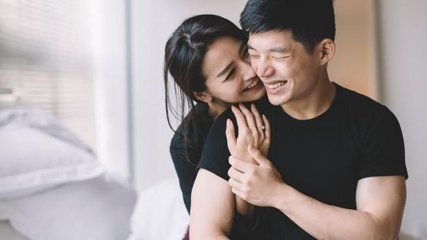 asian chinese couple hugging and bonding time