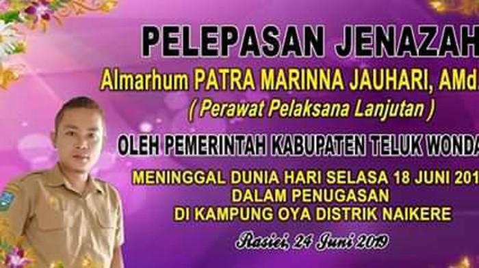 Seorang tenaga kesehatan, Patra Marinna Jauhari, alias Mantri Patra, meninggal dalam penugasan di Papua (Foto: pribadi)