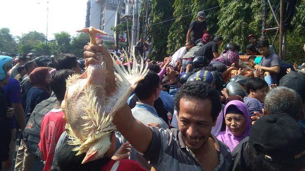 Peternak di Yogyakarta bagi-bagi ayam gratis, sebagai  protes harga anjlok