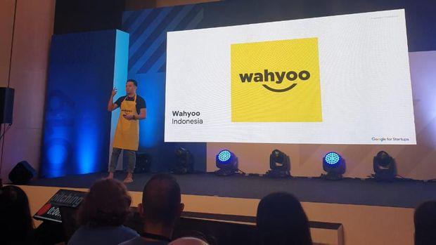 Peter saat mempresentasikan Wahyoo di Google Demo Day Asia 2019.