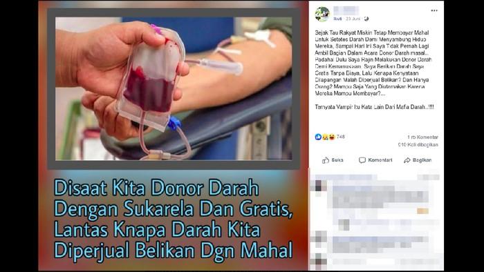 Viral darah dari donor diperjualbelikan. Foto: Tangkapan layar Facebook