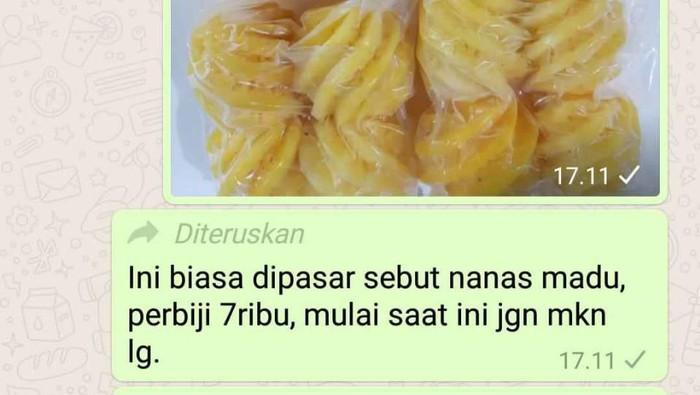 Viral hoax nanas madu sebabkan kerusakan ginjal. Foto: Tangkapan layar WhatsApp