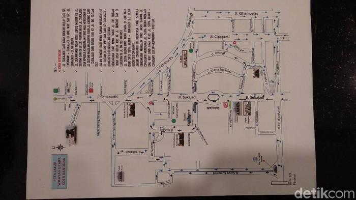 Peta uji coba rekayasa sejumlah jalan di Kota Bandung. (Foto: Mochamad Solehudin/detikcom)