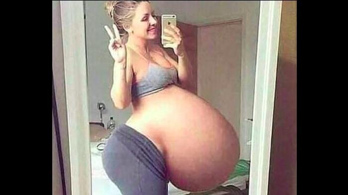 Viral foto wanita disebut hamil 17 anak sekaligus dinyatakan berita palsu atau hoaks. Foto: Tangkapan layar Facebook