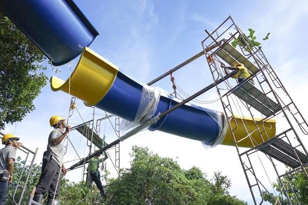 Lokasi pembangunannya ada di taman hiburan ESCAPE Penang dan tampaknya akan memecahkan rekor untuk seluncuran air terpanjang di dunia (ESCAPE)