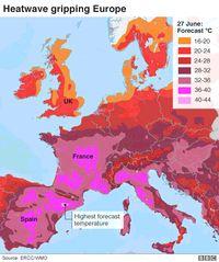 Gambaran cuaca panas di Eropa (ERCC/WMO/BBC)