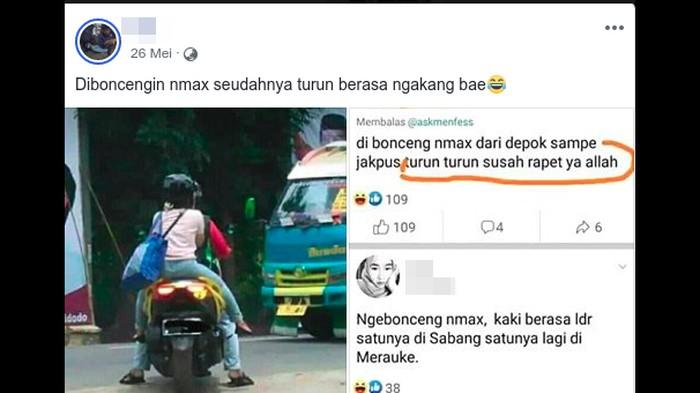Naik motor terlalu mengangkang disebut bikin wanita hilang perawan. (Foto: Tangkapan layar Facebook)