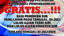 Asyik, Warga Cimahi dan Bandung Barat yang Lahir 1 Juli Gratis Bikin SIM