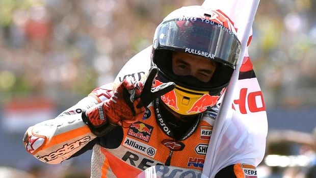 Marc Marquez saat menang di MotoGP Belanda. (
