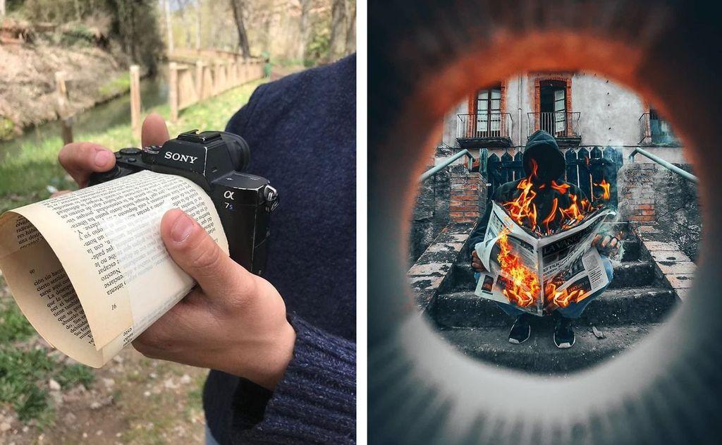 Fotografer Jordi Puig kerap membagikan hasil kreasi di media sosial Instagram miliknya. Salah satu yang menarik perhatian adalah teknik framing menggunakan benda di sekitarnya. Seperti menggunakan kertas ini. Foto: Instagram/jordi.koalitic