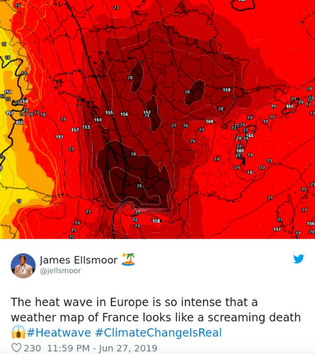 Gelombang panas di Eropa sungguh intens sampai-sampai peta cuaca di Perancis seperti teriakan kematian, tulis netizen ini. Foto: istimewa