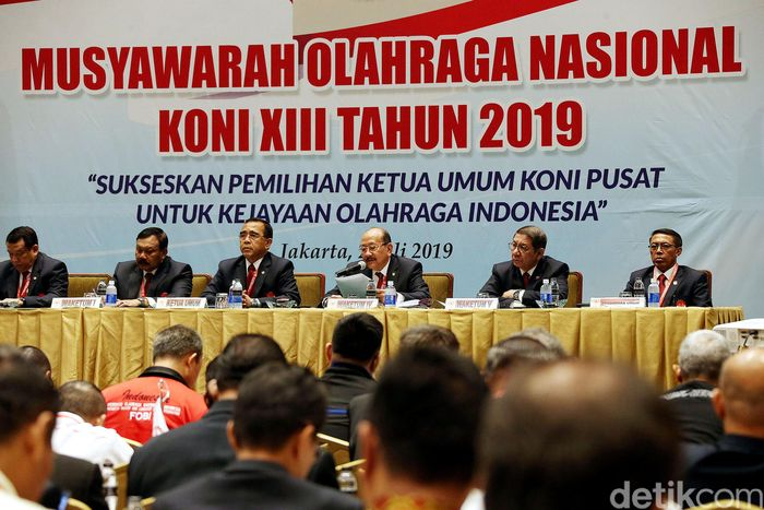Musornas KONI Pusat berlangsung di Golden Ballroom, Hotel Sultan, Senayan, Selasa (2/7/2019). Musornas diikuti 101 anggota suara, yang terdiri dari 34 KONI Provinsi dan 67 cabang olahraga.