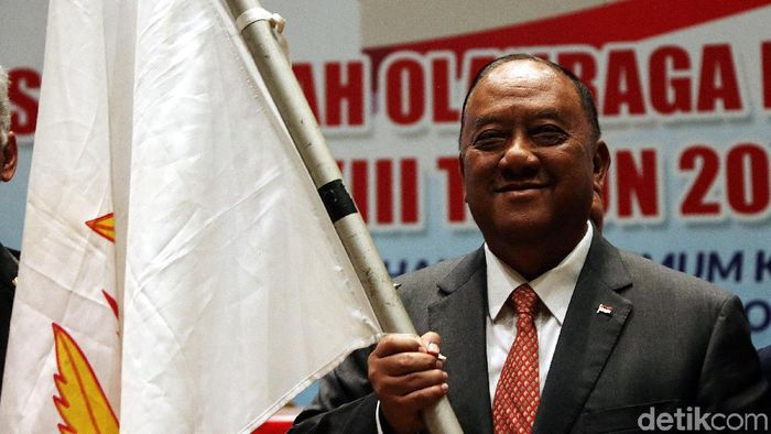 Ketua KONI Pusat, Marciano Norman, akan menengai PB Djarum dan KPAI. (Foto: Rengga Sancaya/detikcom)