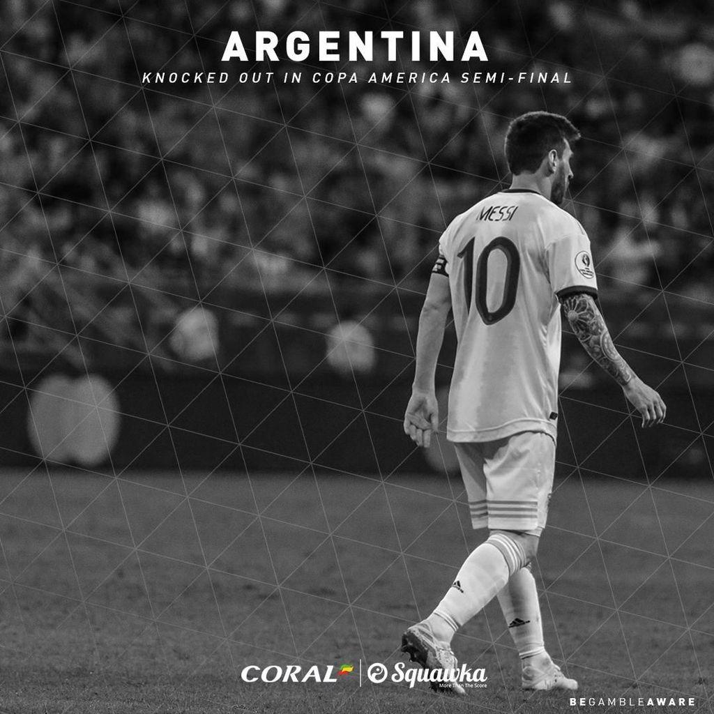 Argentina menelan kekalahan 2-0 atas Brasil dalam babak semifinal Copa America 2019. Foto: Twitter/Squawka